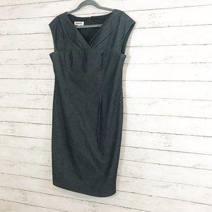 Kasper Dark Wash Denim Dress Ruched Neckline Dress